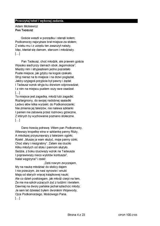 Egzamin ósmoklasisty 2021. Arkusze CKE z języka polskiego /CKE /