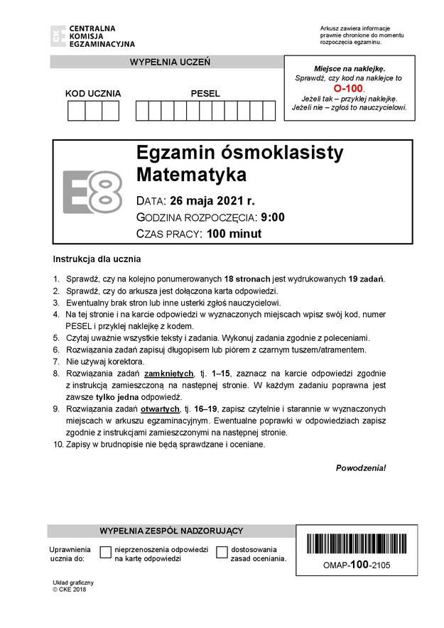 Egzamin ósmoklasisty 2021. Arkusze CKE z matematyki /Centralna Komisja Egzaminacyjna