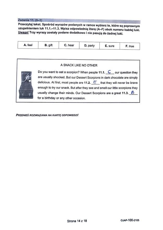 Egzamin ósmoklasisty 2021. Język angielski /CKE