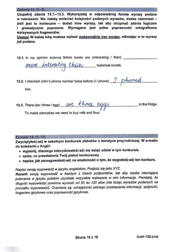 Egzamin ósmoklasisty 2021. Język angielski /CKE /RMF FM