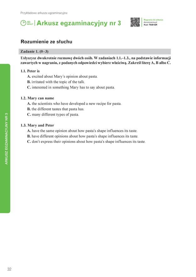 Egzamin ósmoklasisty: Przykładowy arkusz z języka angielskiego /