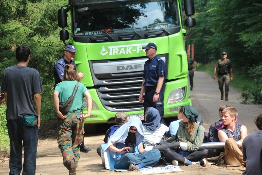 Ekolodzy próbowali blokować działania Lasów Państwowych /Piotr Bułakowski /Piotr Bułakowski, RMF FM