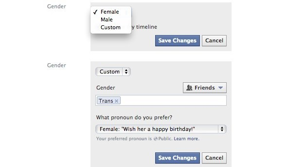 Ekran wyboru płci na Facebooku - na razie nie dostępny w Polsce / Źródło: The Next Web /instalki.pl