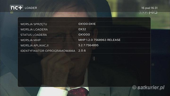 Ekran z informacjami po aktualizacji oprogramowania dekodera 4K UltraBox+ /SatKurier