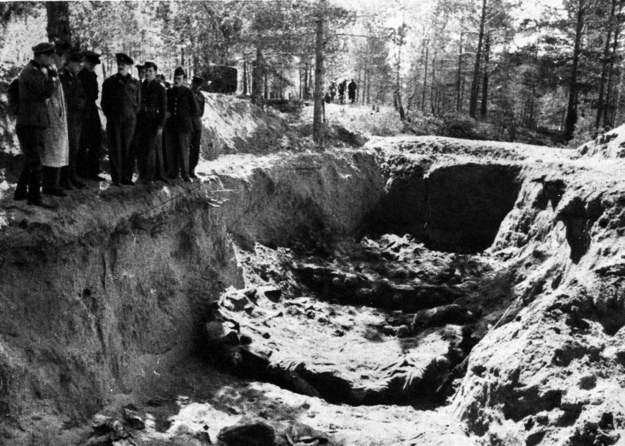 Ekshumacja zwłok polskich oficerów zamordowanych w Katyniu w 1940 r /CAF /PAP