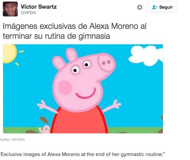 """""""Eksluzywne zdjecie Alexy Moreno po zakończeniu układu gimnastycznego"""" /Twitter/Printscreen /INTERIA.PL"""