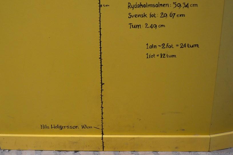 Ekspozycja z Glimmingehus: porównanie wzrostu Nilsa Holgerssona zamienionego w krasnoludka z jednostkami miary: łokciem szwedzkim, stopą szwedzką i calem szwedzkim. fot. Natalia Kołaczek/ Szwecjoblog.pl /materiały promocyjne
