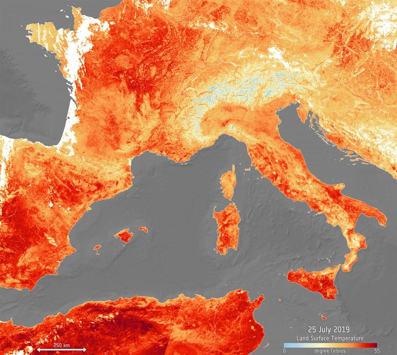 Ekstremalna fala upałów nad Europą w lipcu 2019 r. /ESA / eyevine /East News