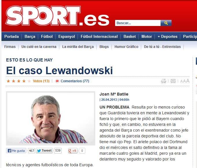 """""""El caso Lewandowski"""" - """"Przypadek Lewandowskiego"""" - pisze """"Sport"""". /INTERIA.PL"""