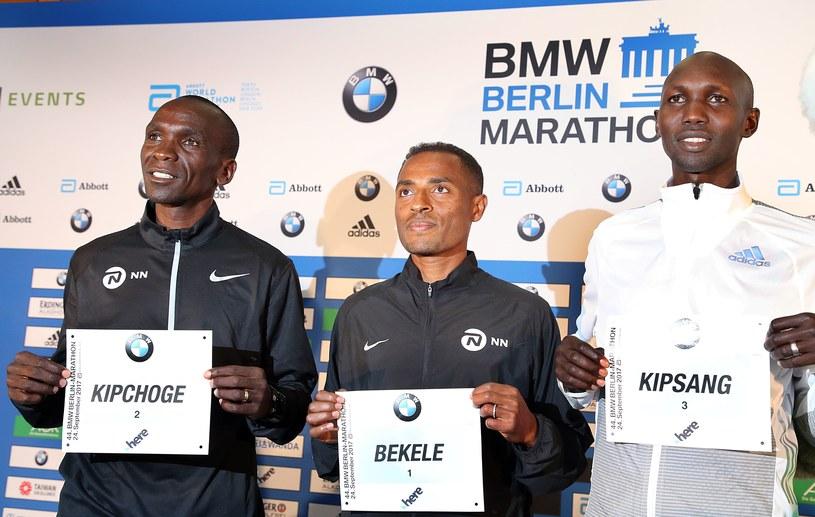 Eliud Kipchoge, Kenenisa Bekele i Wilson Kipsang przed Berlin Marathon. /AFP
