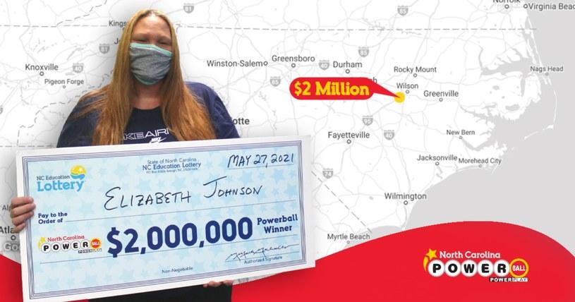 Elizabeth Johnson wygrała 2 miliony dolarów /NC Education Lottery /materiały prasowe