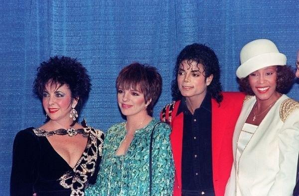 Elizabeth Taylor, Liza Minnelli, Michael Jackson i Whitney Houston (1988, Nowy Jork) /AFP