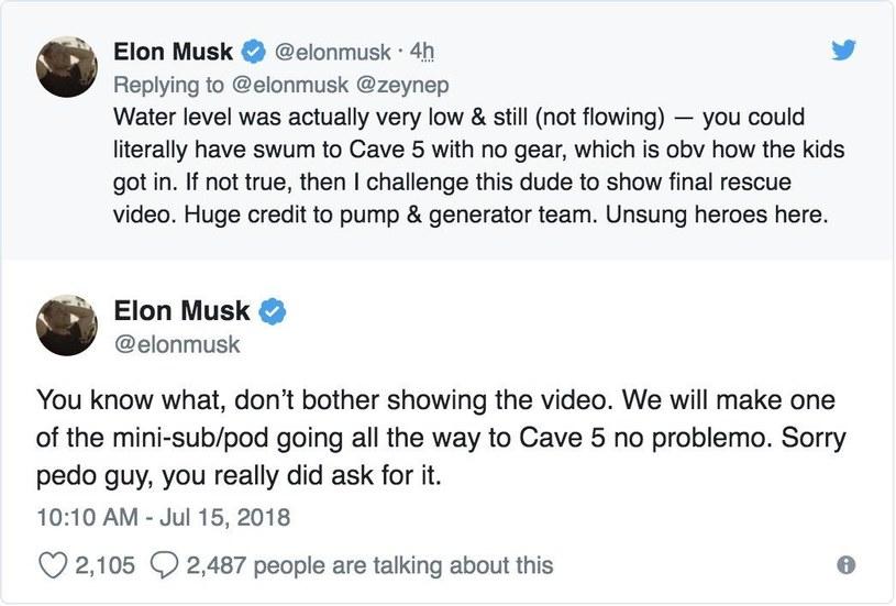 Elon Musk wykłóca się z ratownikiem /Twitter