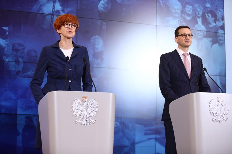 Elżbieta Rafalska i Mateusz Morawiecki / Leszek Szymański    /PAP