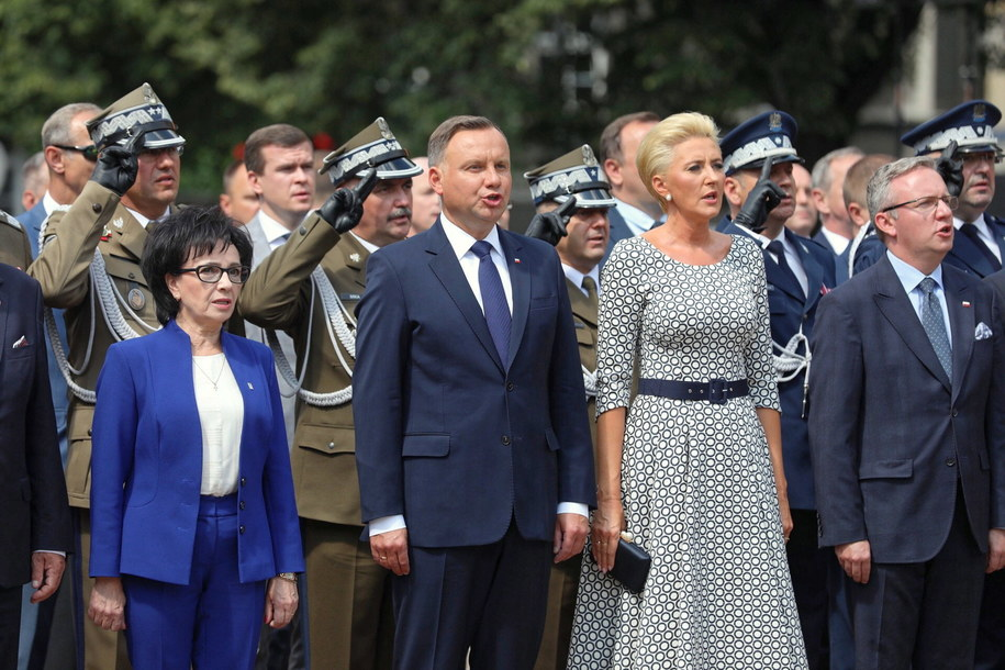 Elżbieta Witek, Andrzej Duda, Agata Konhauser-Duda i Krzysztof Szczerski /Hanna Bardo /PAP