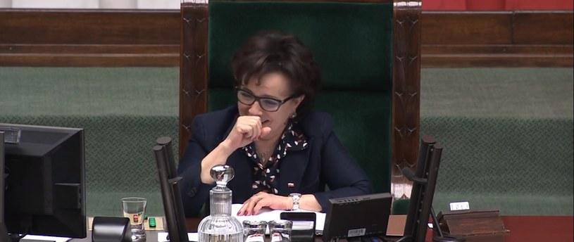 Elżbieta Witek podczas posiedzenia Sejmu /YouTube