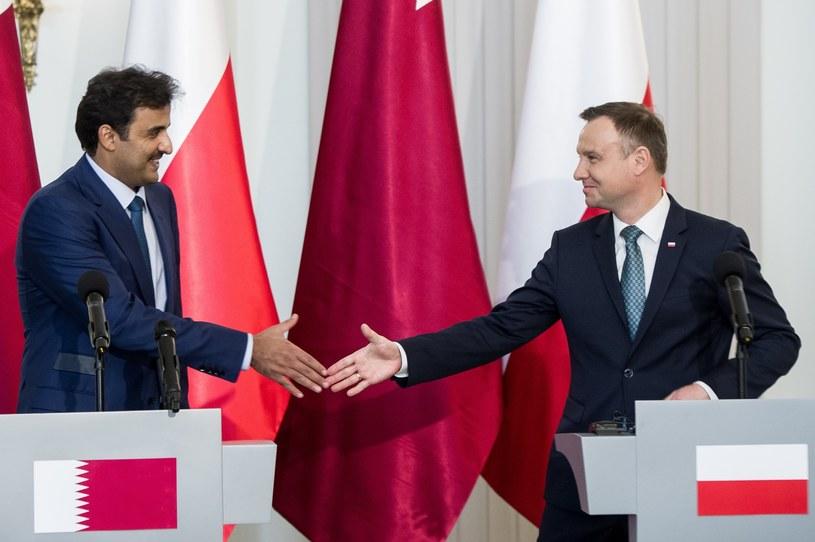 Emir Kataru podczas niedawnego spotkania z prezydentem Andrzejem Dudą /Rafał Oleksiewicz /East News