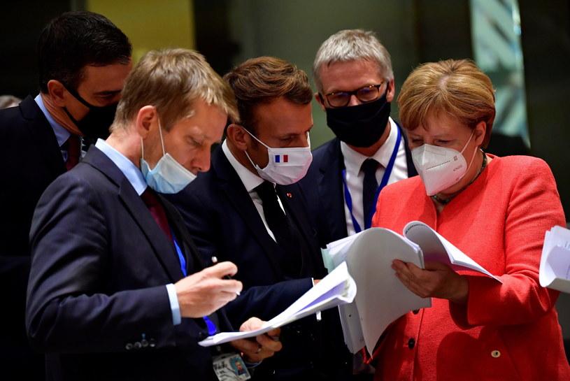 Emmanuel Macron i Angela Merkel na unijnym szczycie /JOHN THYS /PAP/EPA