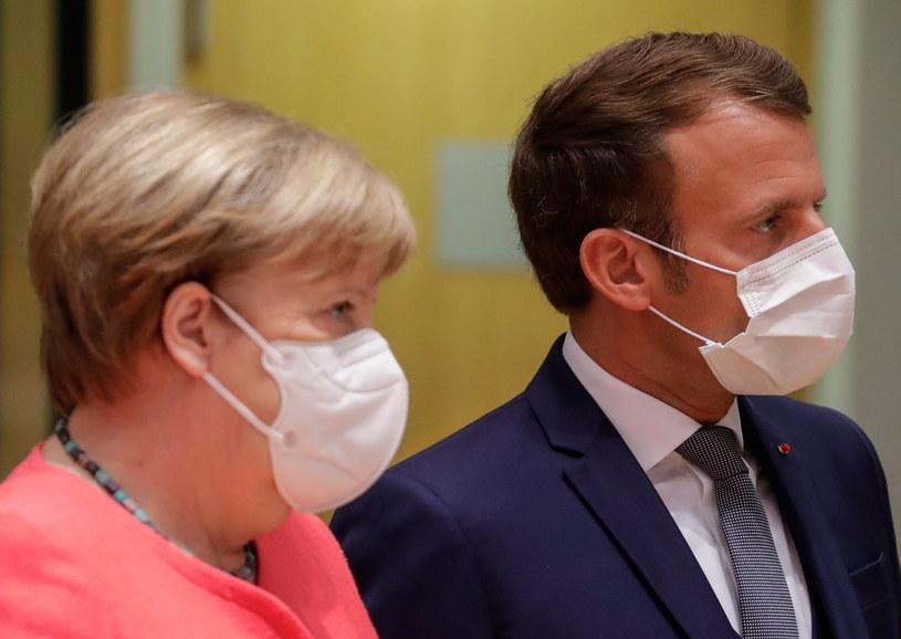 Emmanuel Macron i Angela Merkel /STEPHANIE LECOCQ  /PAP/EPA