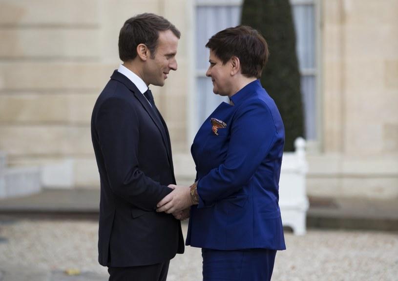 Emmanuel Macron i Beata Szydło /PAP/EPA