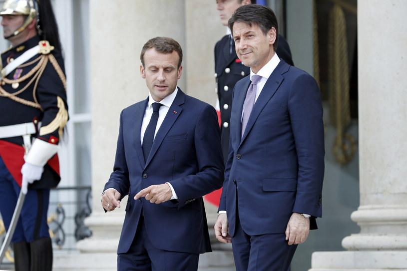 Emmanuel Macron i Giuseppe Conte /PAP/EPA/CHRISTOPHE PETIT TESSON /PAP