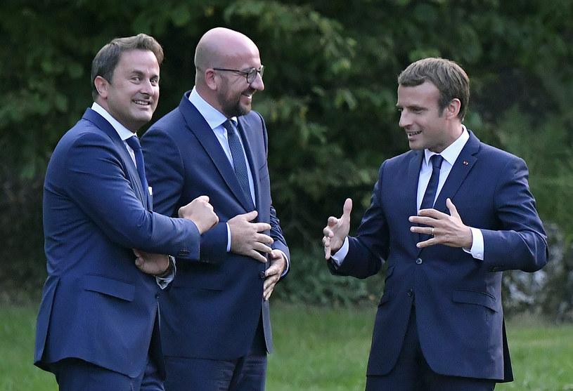 Emmanuel Macron, premier Luksemburga Xavier Bettel, szef belgijskiego rządu Charles Michel /AFP
