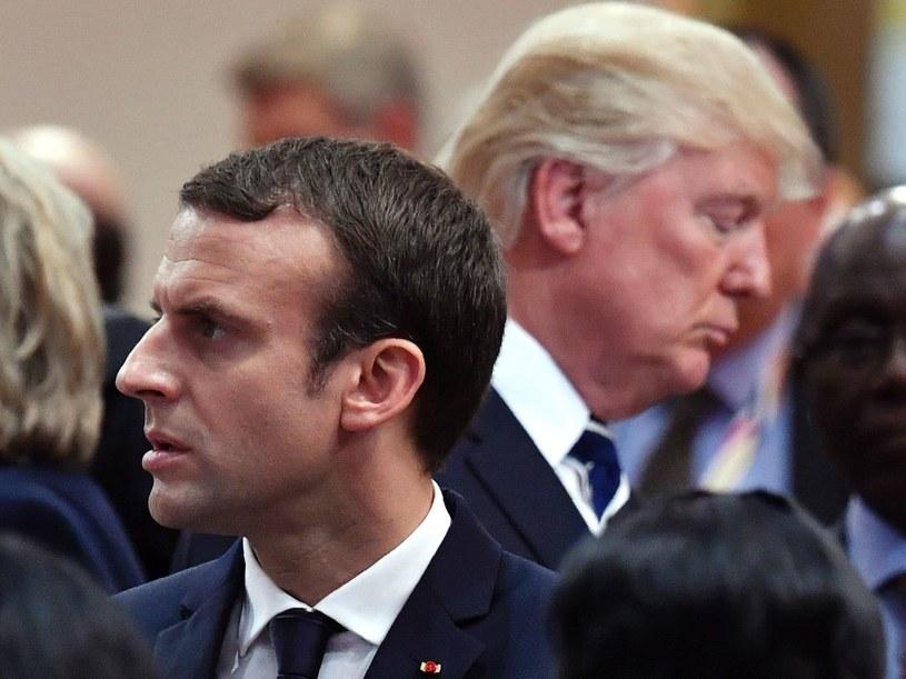 Emmanuel Macron, w tle Donald Trump /AFP