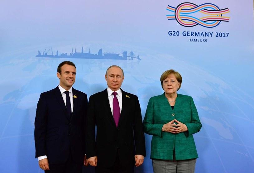 Emmanuel Macron, Władimir Putin i Angela Merkel /TOBIAS SCHWARZ /AFP