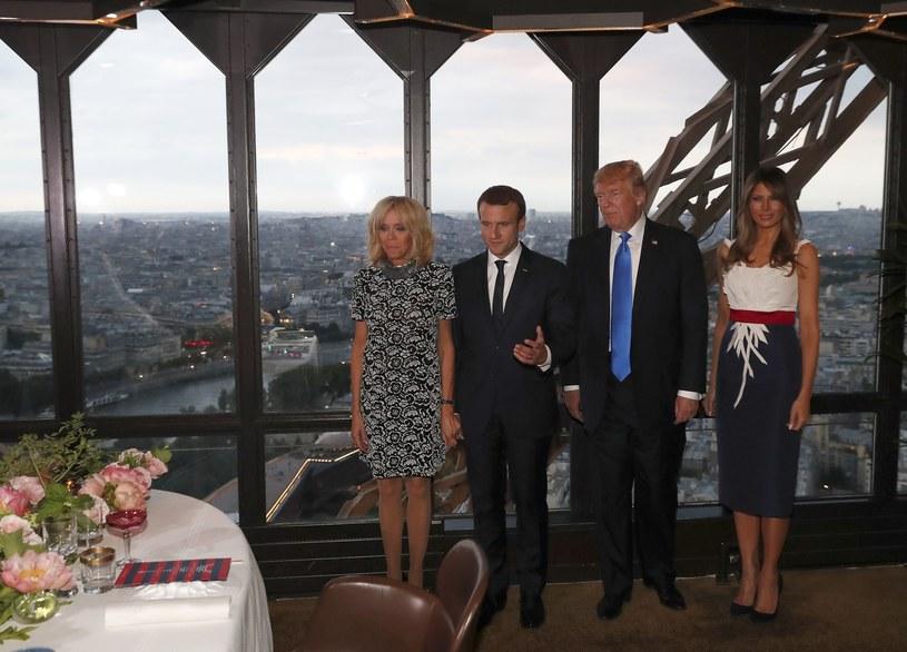 Emmanuele i Brigitte Macron z Donaldem Trumpem i Melanią /East News