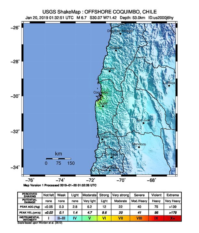 Epicentrum chilijskiego trzęsienia ziemi na mapie opublikowanej przez amerykańską USGS /USGS / HANDOUT /PAP/EPA