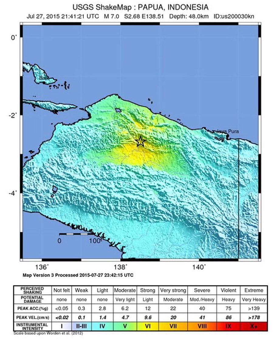 Epicentrum na mapie opublikowanej przez US Geological Survey /USGS /PAP/EPA
