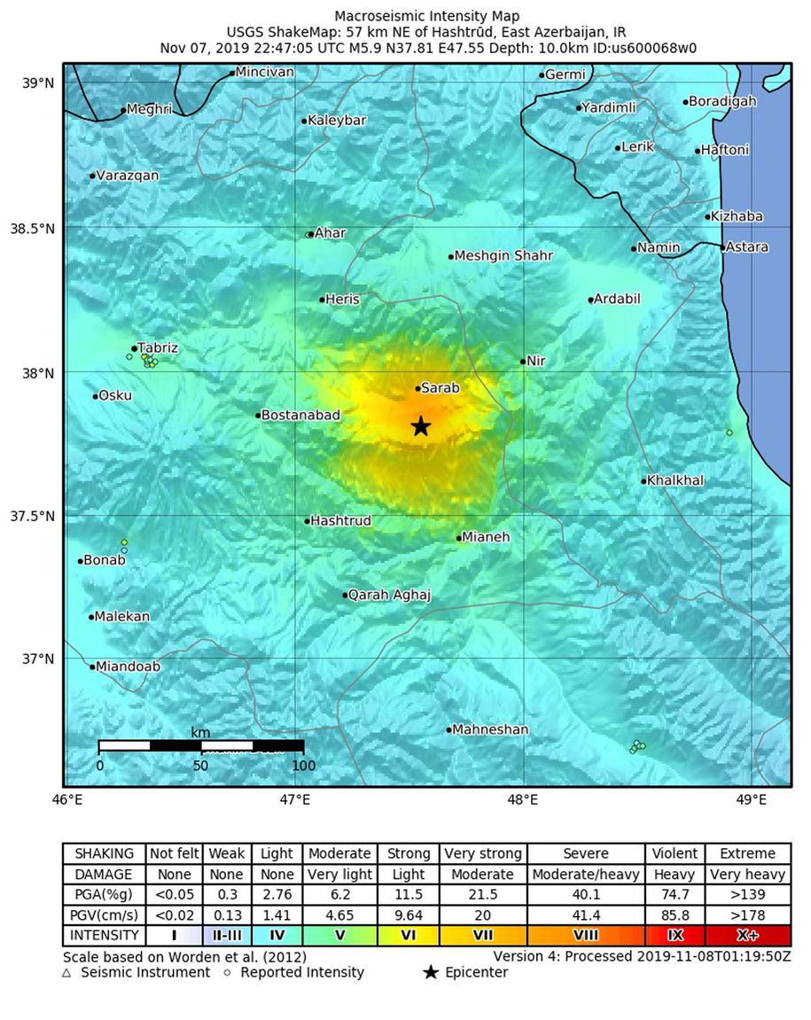 Epicentrum trzęsienia odnotowano w pobliżu miasta Hasztrud /USGS /PAP/EPA