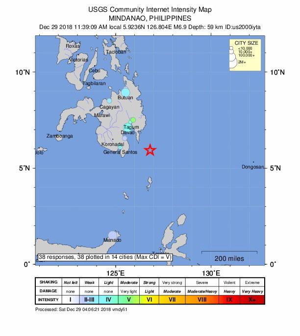 Epicentrum trzęsienia ziemi znajdowało się niedaleko miasta General Santos /UNITED STATES GEOLOGICAL SERVICE / HANDOUT /PAP/EPA