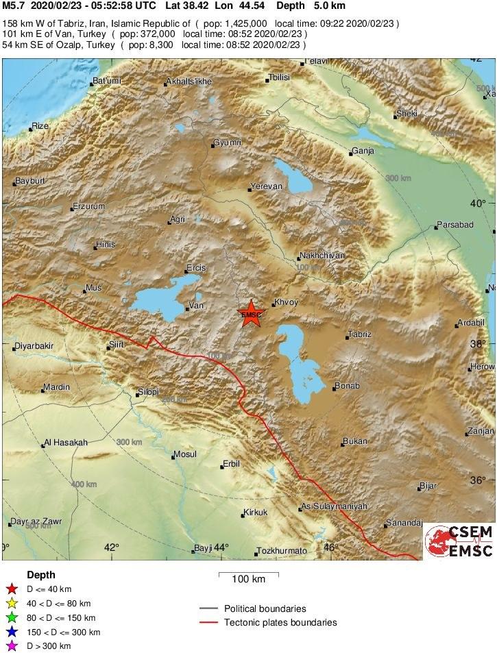 Epicentrum trzęsienia ziemi /EMSC (Europejsko-Śródziemnomorskie Centrum Sejsmologiczne) /