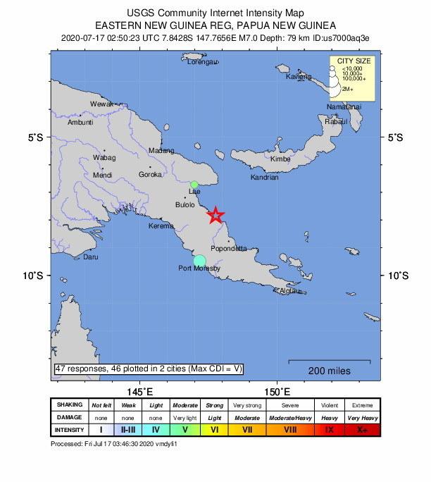 Epicentrum trzęsienia ziemi /USGS / HANDOUT /PAP/EPA
