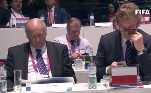 Eugeniusz Nowak i Zbigniew Boniek na kongresie FIFA. /INTERIA.PL