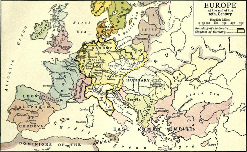 Europa pod koniec X wieku /domena publiczna