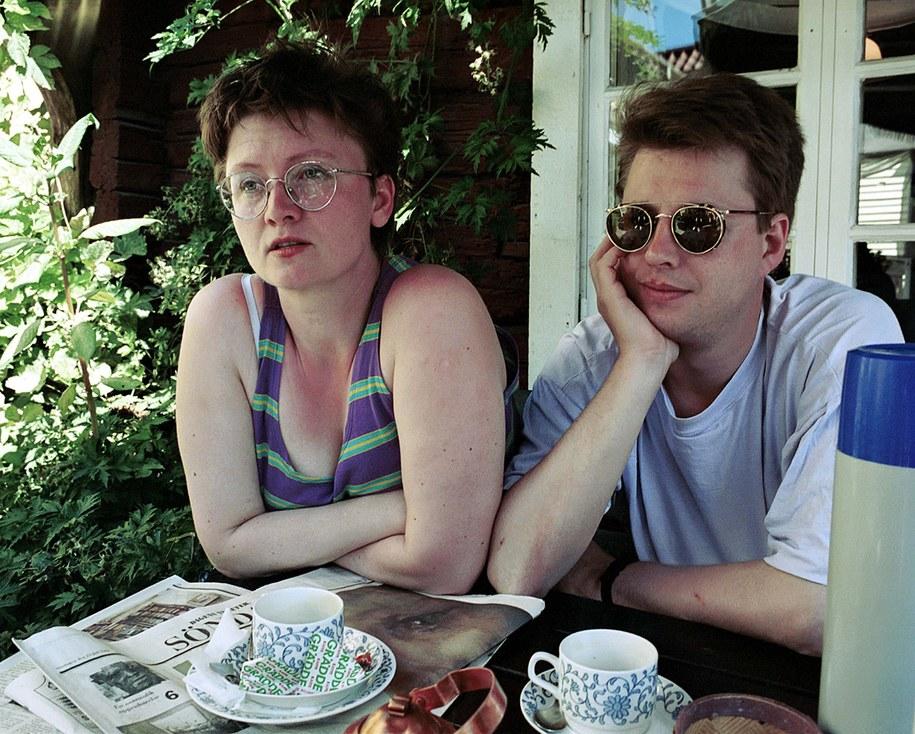 Eva Gabielsoon i Stieg Larsson z zdjęciu z początku lat 90. / 10620 Per Jarl / SCANPIX    /PAP/EPA