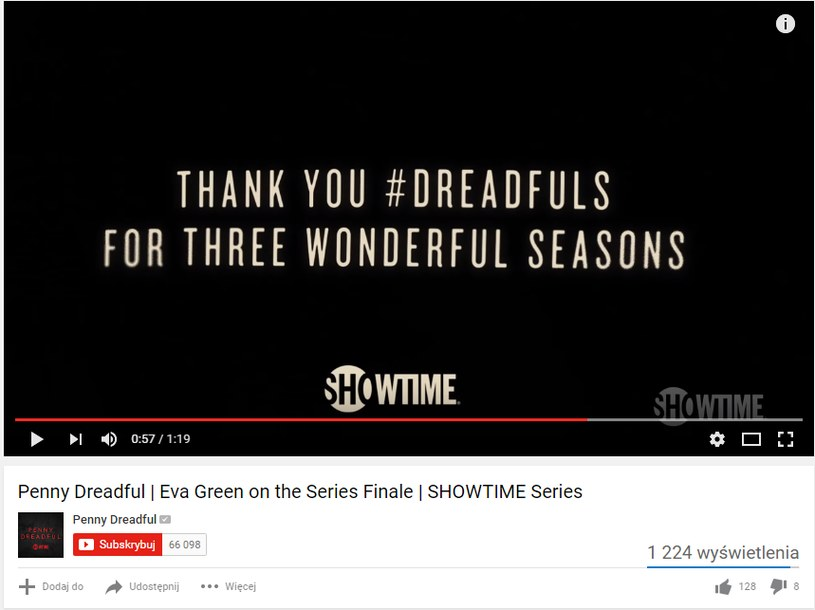 """Eva Green o zakończeniu serii"" /You Tube /internet"