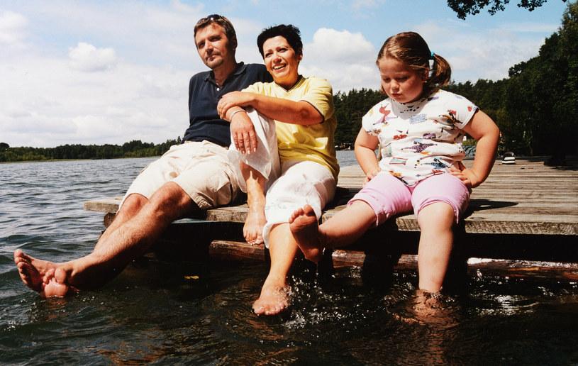 Ewa Bem z mężem i córką Gabrysią, 2001 r. /Marek Szymański /Agencja FORUM