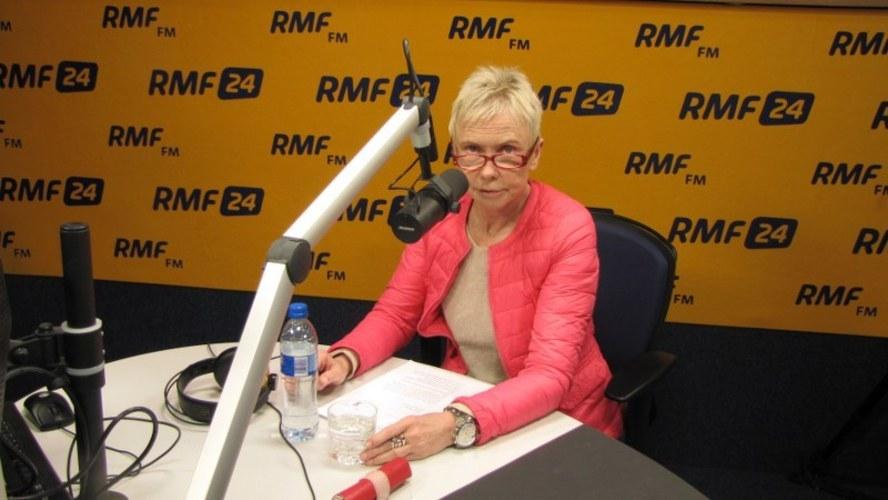 Ewa Błaszczyk w studio RMF FM podczas nagrywania audiobooka /RMF FM