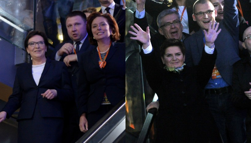 """Ewa Kopacz i Beata Szydło po programie """"Rozmowy o Polsce"""" /Marcin Obara/Jacek Turczyk /PAP"""