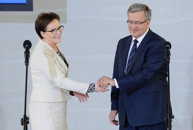 Ewa Kopacz i Bronisław Komorowski /Jacek Turczyk /PAP