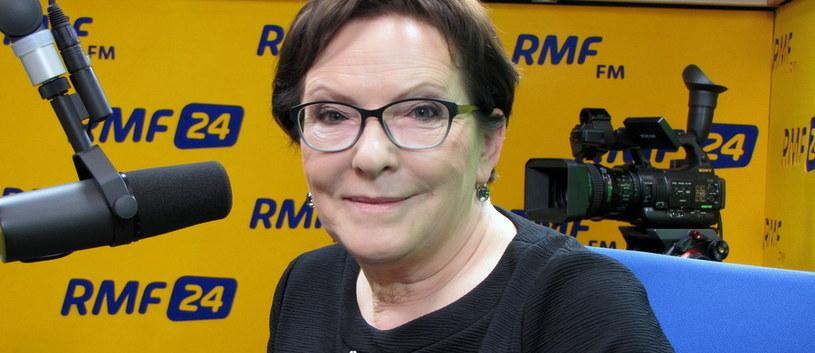 """Ewa Kopacz na sugestię o ewentualnej samorefleksji nad popełnionymi błędami odpowiedziała: """"Sama do siebie jeszcze nie mówię"""" /RMF"""