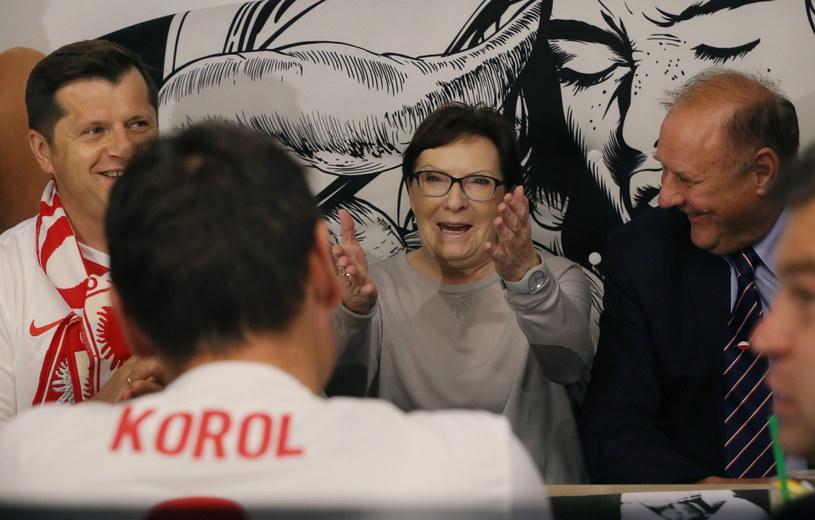 Ewa Kopacz ogląda mecz /Radek Pietruszka /PAP