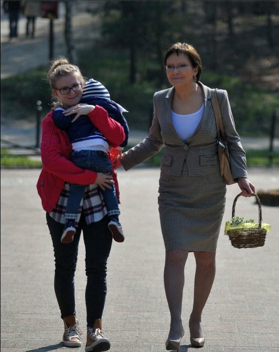 Ewa Kopacz z córką i wnukiem /Gadomski /East News
