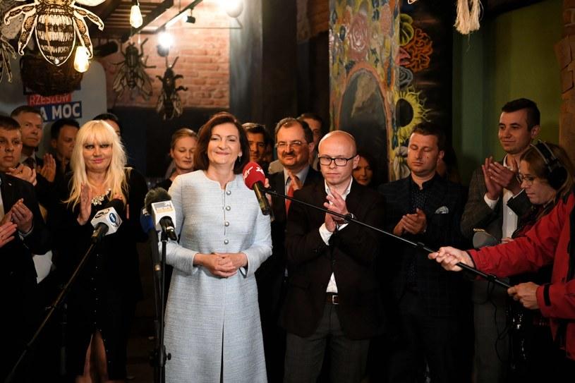 Ewa Leniart podczas wieczoru wyborczego /Darek Delmanowicz /PAP