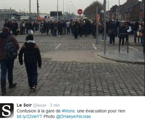 Ewakuacja dworca w Mons w Belgii /Twitter