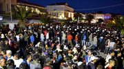 Ewakuacja migrantów protestujących na wyspie Lesbos