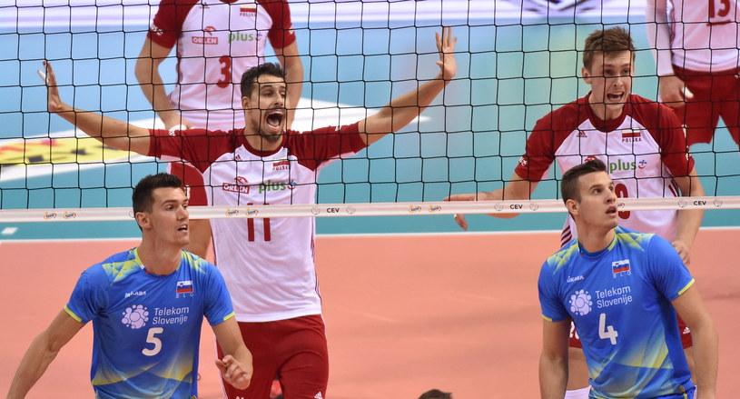 Fabian Drzyzga podczas meczu ze Słowenią /Jacek Bednarczyk /PAP